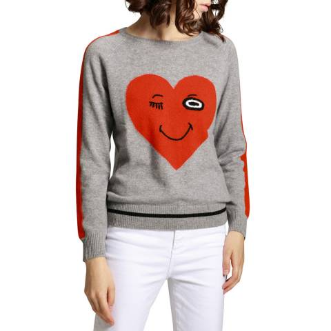 Manode Grey Cashmere Heart Knitted Jumper