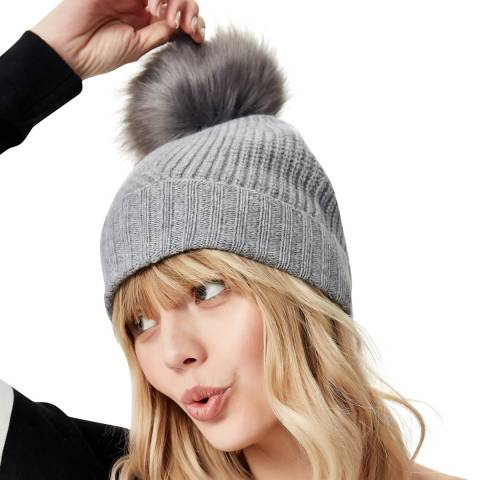 Manode Grey Cashmere Knitted Bobble Hat