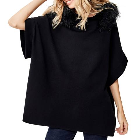 Manode Black Cashmere Mix Faux Fur Hooded Jumper