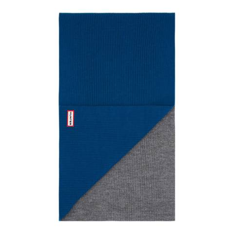 Hunter Ocean Blue/Grey Moustache Scarf Merino Wool