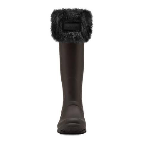 Hunter Black Tall Boot Sock Faux Fur Cuff