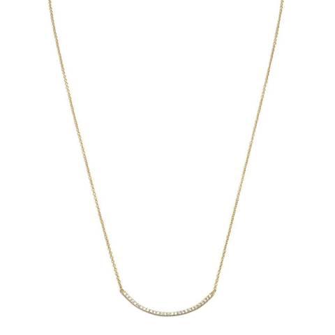 Black Label by Liv Oliver 18K Gold Cz Embelished Bar Necklace