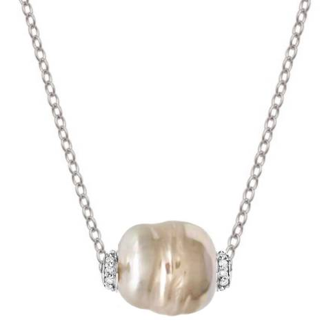 Black Label by Liv Oliver White/Gold Baroque Pearl & Cz Necklace