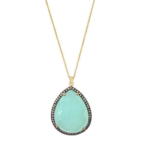 Liv Oliver 18k Gold Chalcedony & Multi Diamond Pear Drop Necklace