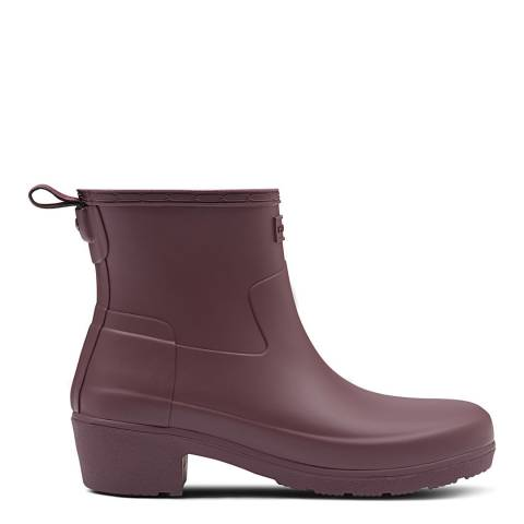 Hunter Burgundy Refined Low Heel Biker Ankle Boots