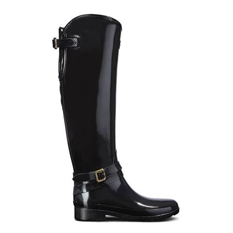 Hunter Black Leather Refined Adjustable Quilted Tall Riding Boots
