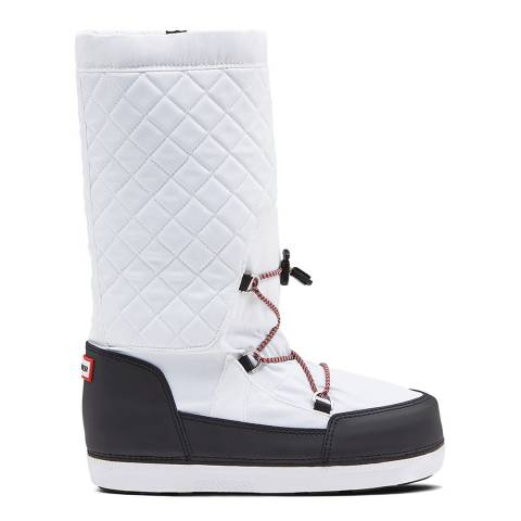 Hunter White & Black Original Quilted Snow Boots