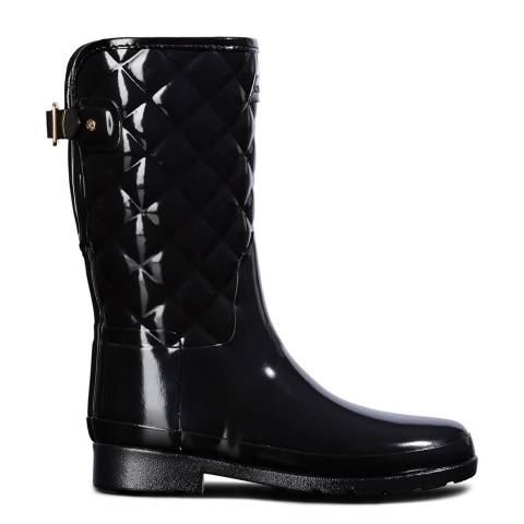 Hunter Black Refined Adjustable Quilted Gloss Boots