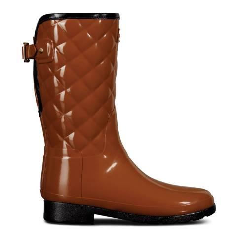 Hunter Brown Refined Gloss Quilt Short Wellington Boot