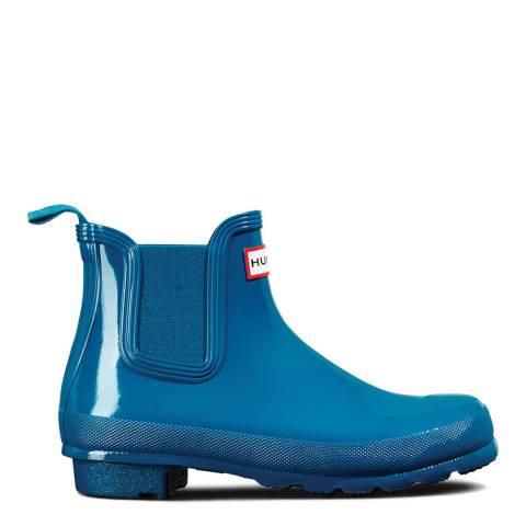 Hunter Ocean Blue Original Gloss Chelsea Boots