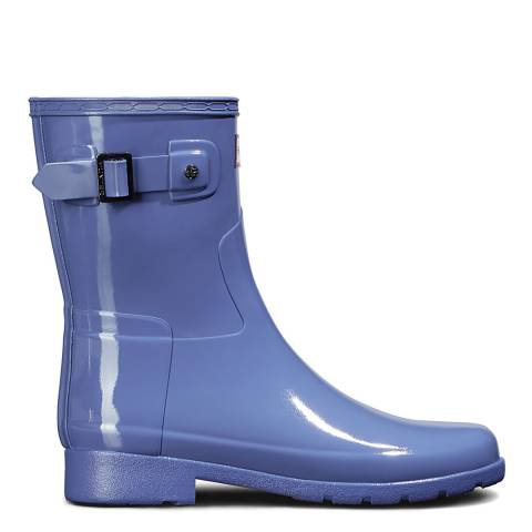 Hunter Blue Original Refined Slim Fit Short Gloss Wellington Boot