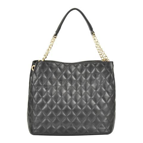 Anna Luchini Black Leather Quilted Top Handle Bag with Chain