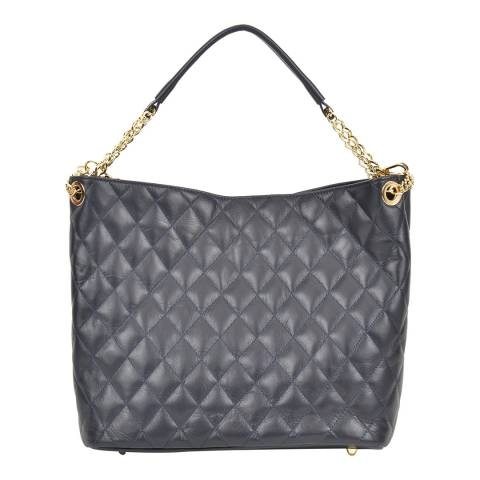 Anna Luchini Blue Leather Quilted Top Handle Bag