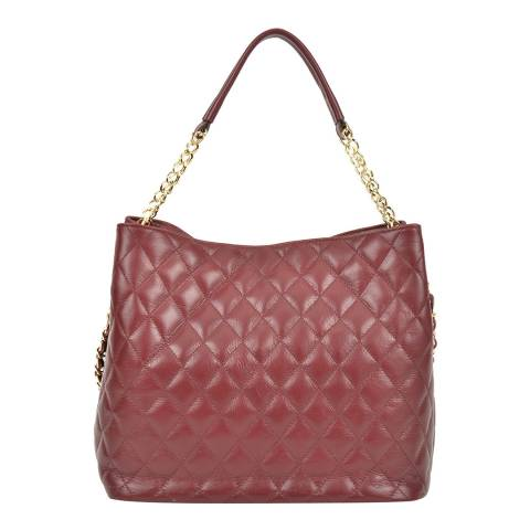 Anna Luchini Vino Leather Quilted Top Handle Bag with Chain