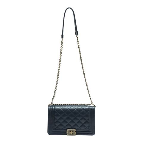 Anna Luchini Blue Leather Quilted Chain Shoulder Bag