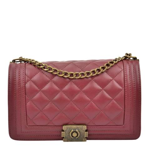 Anna Luchini Vino Leather Quilted  Chain Shoulder Bag