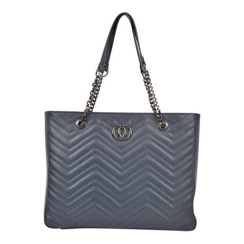 Anna Luchini Blue Leather Textured Leather Shoulder Bag