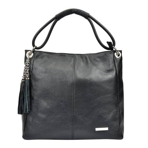 Anna Luchini Black Leather Shoulder Bag with Tassel Accent