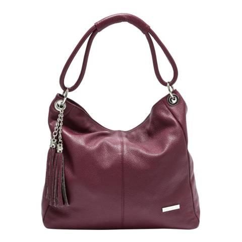 Anna Luchini Burgundy Leather Shoulder Bag with Tassel Accent