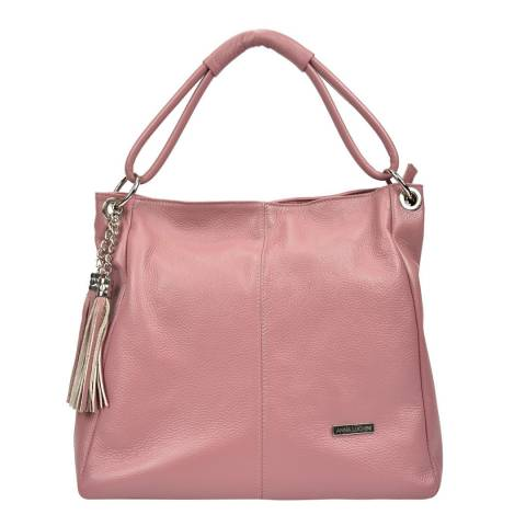 Anna Luchini Pink Leather Shoulder Bag with Tassel Accent