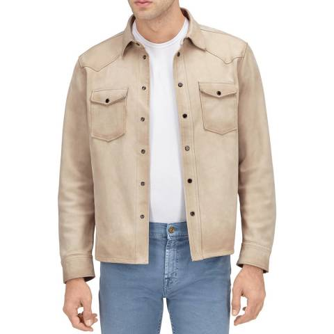 7 For All Mankind Cream Suede Leather Overshirt Jacket
