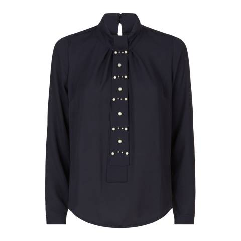 James Lakeland Navy Tie Shirt With Pearls
