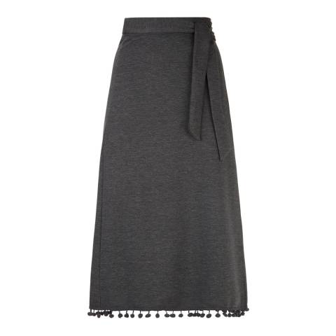 James Lakeland Charcoal Pompom Hem Midi Skirt