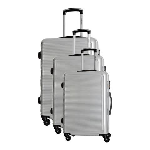 Travel One Silver Maryhill Set Of Three 4 Wheeled Suitcases Set of 3