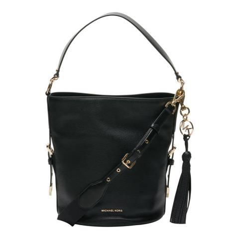 Michael Kors Black Brooke Medium Pebbled Leather Bucket Bag