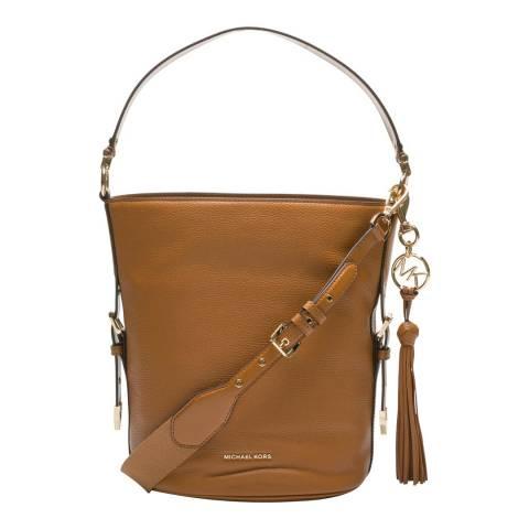 Michael Kors Brown Brooke Medium Pebbled Leather Bucket Bag
