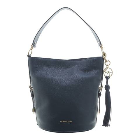 Michael Kors Navy Brooke Medium Pebbled Leather Bucket Bag