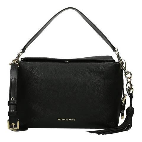 Michael Kors Black Brooke Medium Pebbled Satchel