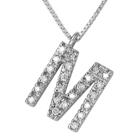 Pretty Solos White Gold 0.12 cts Letter M Necklace