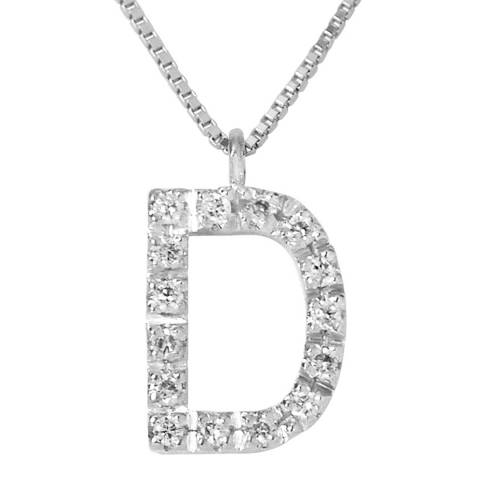 Pretty Solos White Gold 0.08 cts Letter D Necklace