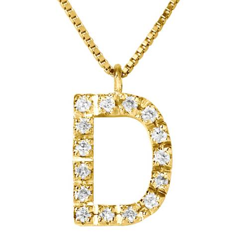 Only You Yellow Gold 0.08 cts Letter D Necklace