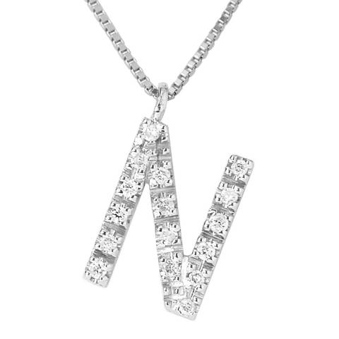 Pretty Solos White Gold 0.08 cts Letter N Necklace