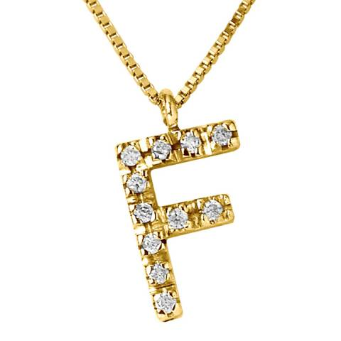 Only You Yellow Gold 0.06 cts Letter F Necklace