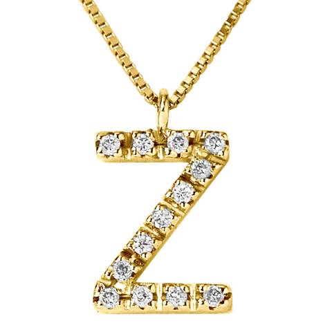 Only You Yellow Gold 0.06 cts Letter Z Necklace
