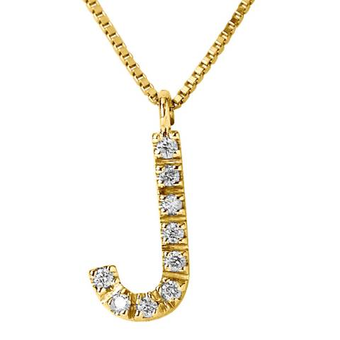 Only You Yellow Gold 0.05 cts Letter J Necklace