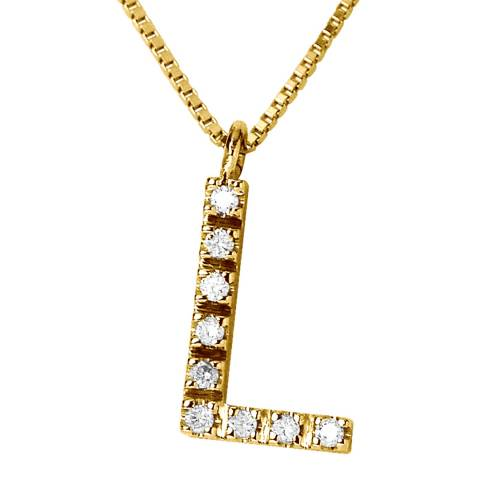Only You Yellow Gold 0.05 cts Letter L Necklace