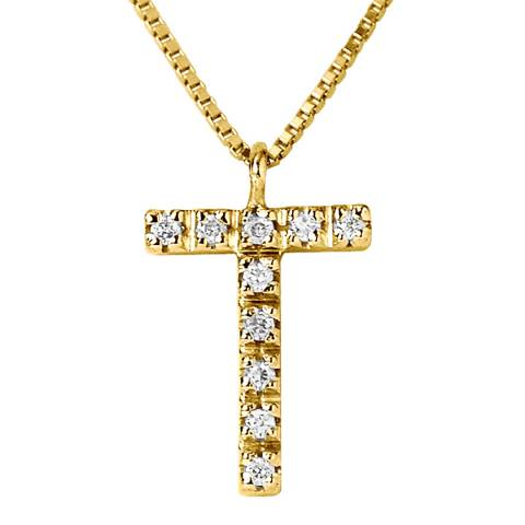 Only You Yellow Gold 0.05 cts Letter T Necklace