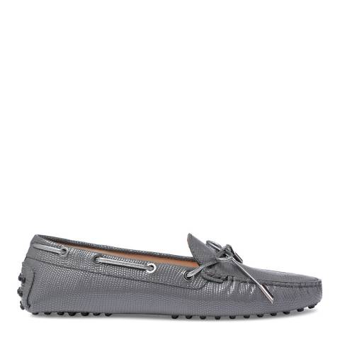 Tod's Grey Leather Croc Bow Moccasins