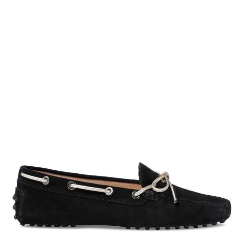 Tod's Black Suede Bow Moccasins