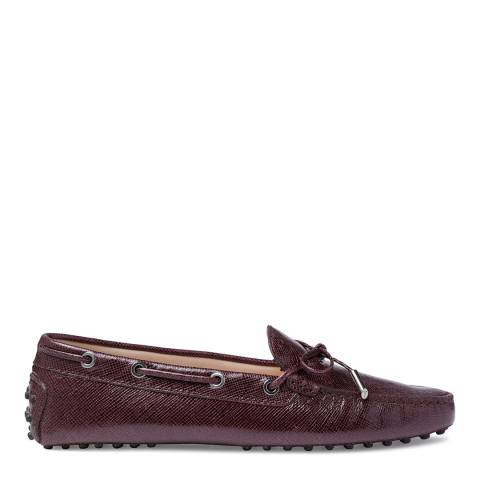 Tod's Purple Leather Textured Bow Moccasins