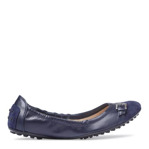 Tod's Navy Leather Buckle Ballet Flats