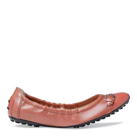 Tod's Brown Leather Buckle Ballet Flats