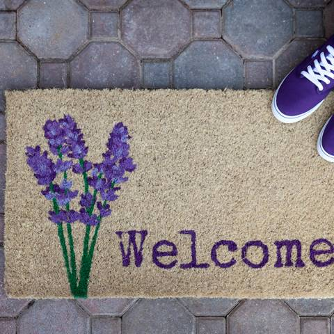 Entryways Purple/Cream Lavender Welcome Handwoven Doormat 40x60cm