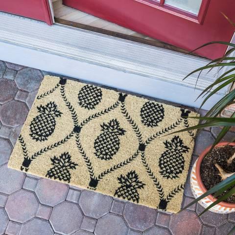 Entryways Black/Cream Pineapple Trellis Handwoven Doormat 40x60cm