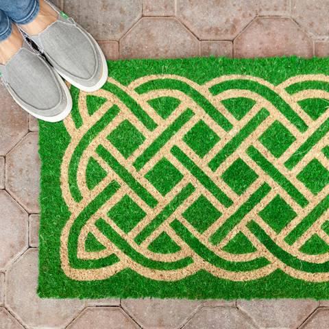 Entryways Green Labyrinth Non-Slip Coir Doormat 40x60cm