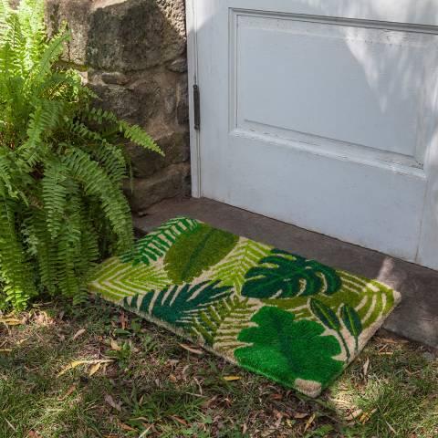 Entryways Green Tropical Leaves Non Slip Coir Doormat 40x60cm